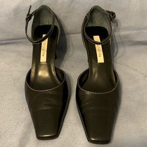 Maripe Black Leather Ankle Strap Heels Size 8